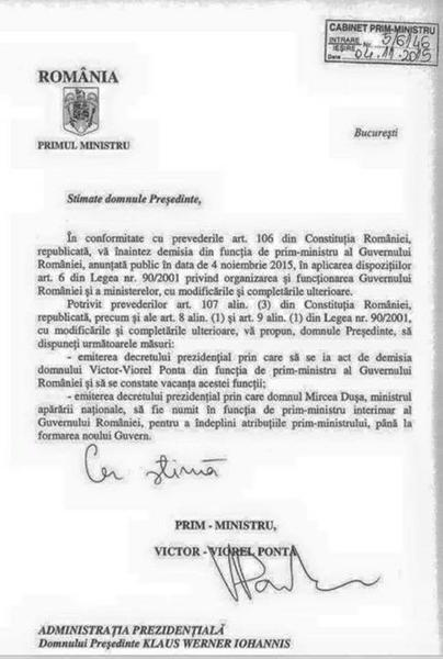 DEMISIIE VICTOR PONTA