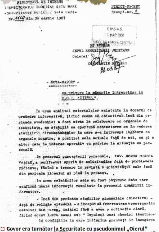 DOCUMENT MIRCEA GOVOR